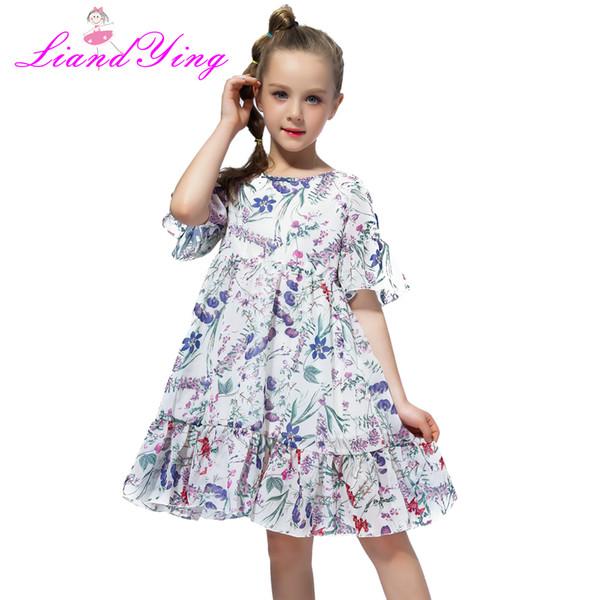 Venda quente Crianças Verão Bohemia Casual Vestido Plissado Para A Menina 2018 Crianças Chiffon Floral Vestido Para 3 4 6 7 8 9 10 11 12 Anos MX190724