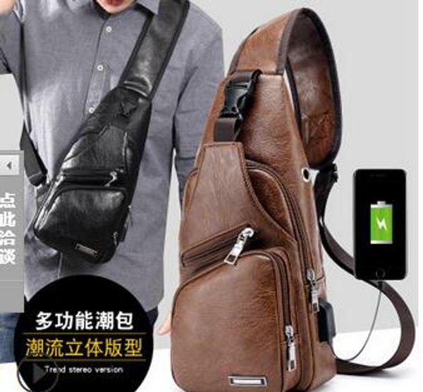 Nouveau sac à bandoulière sac de chargement pour hommes sport poitrine USB pour hommes