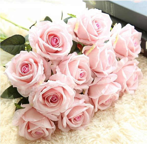 Artificial Flowers Rose Bouquet Home Party Decoration Fake Silk single stem Flowers Floral wedding decorations Real touch material YSY61