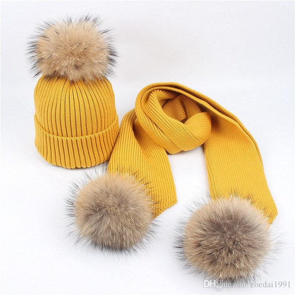Children Caps Cute Baby Pompon Winter wool Hat Scarves Sets Real Natural Fur Ball Caps Knitted Beanie Winter Scarf hat suit Cotton Warm Soft