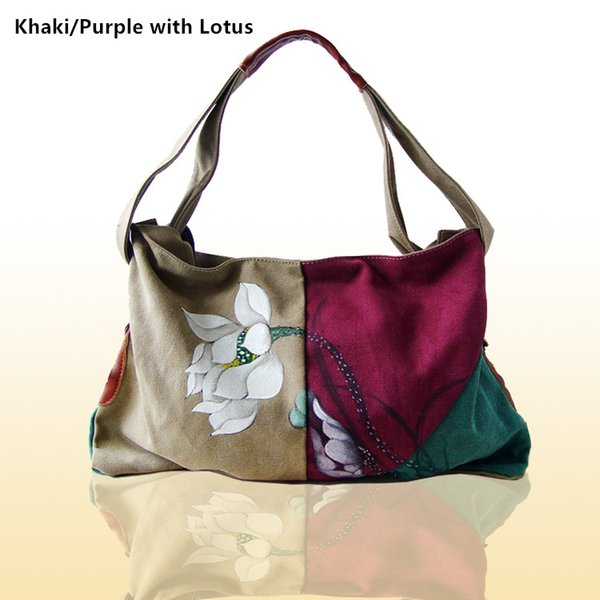 FREE SHIPPINGWomen's Canvas Tote Bag with Unique flower Painting ,Stylish Shopping Bag,Hobo top-handle bag, Large capacity Hobo Bags, Travel