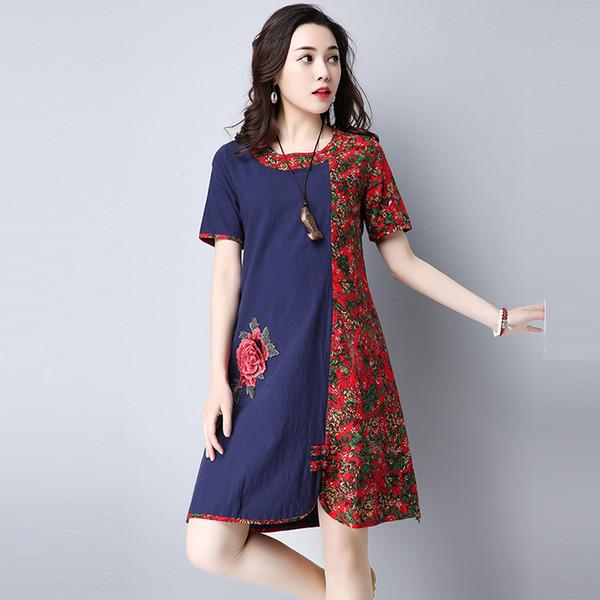 Yaz Patchwork Çiçek Baskı Pamuk Keten Elbise Kadın Rahat Vestidos Zarif O-Boyun Kısa Kollu Diz Boyu Elbise Re0599