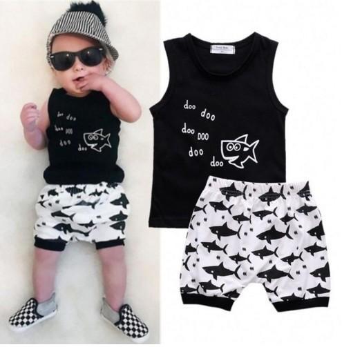 Animal Shark baby Summer Sleeveless Outfits Newborn Babies Boys Printing Vest tank Top Tshirt+Shorts 2pcs kids Outfit Clothes