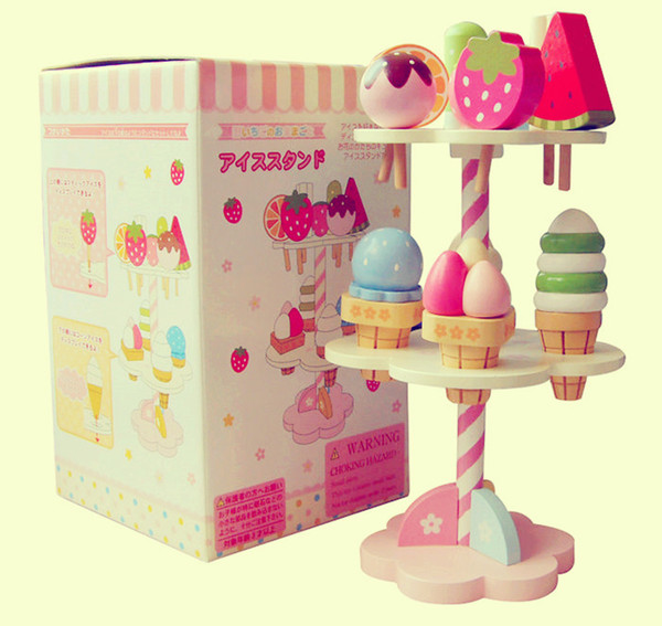 Wooden Mother Garden Strawberry three layer cake Ice cream toy Pretend Play House kitchen toys best Cooking gift for baby girl
