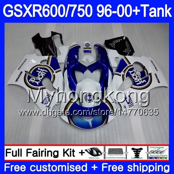 Bodys + Tank Per SUZUKI SRAD GSXR 750 600 1996 1997 1998 1999 2000 291HM.62 GSXR600 Lucky Strike blu GSXR-750 GSXR750 96 97 98 99 00 Carenatura