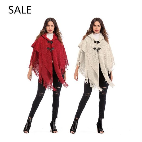 Women Knitted Cape Casual Style Fashion Special Horn Leather Buckle Design Ladies Spring Daily Outrwear New Arrival