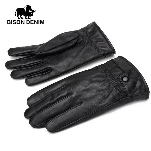 BISON DENIM Winter Gloves Genuine Leather Glove For Men Winter Outdoor Warm Fur Thickening Sheepskin Men Gloves S002