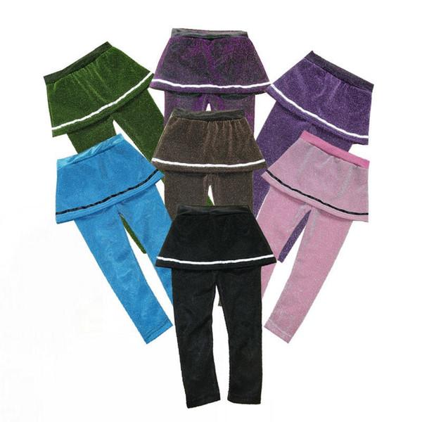 Gratuit DHL INS 36 Couleurs Designs Enfants Filles leggings Robes d'hiver d'automne Flanelle Plaid velours Stripes Patchwork Princesse filles Collants 2-7T