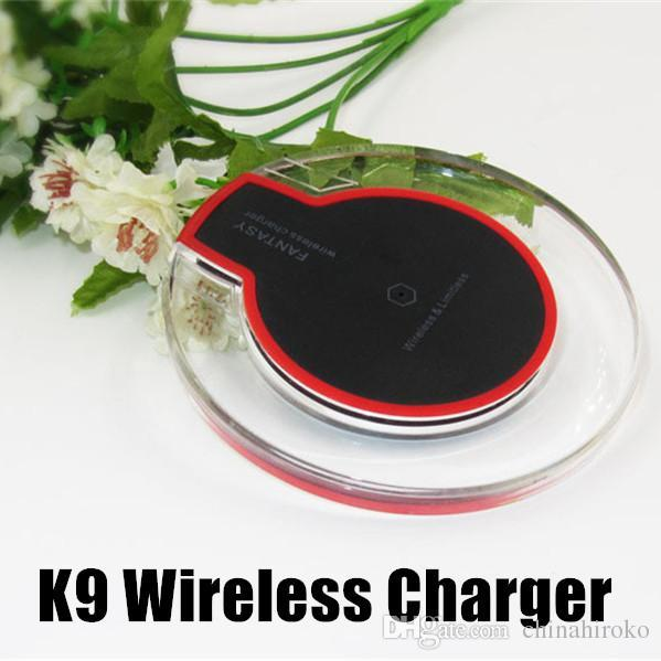 K9 Wireless Charger Crystal Fantasy Qi Portable Fast Charge Ultra-Thin LED Lighting Tablet Charging For iPhone X XS XR Samsung LG HTC