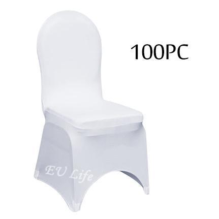 100PC Strech Elastic Universal White Spandex Fundas para sillas de boda para bodas Fiesta Banquete Hotel Decoración del hogar al por mayor