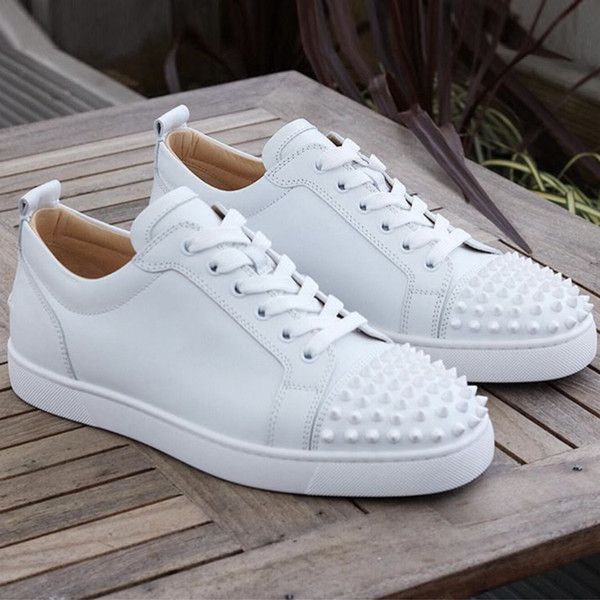 men studded spikes sneakers red bottom designer shoes low