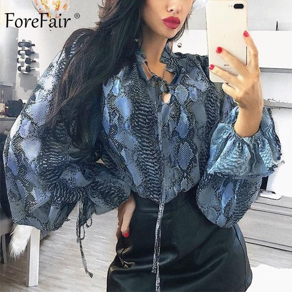 Camicetta con stampa di serpente di Forefair Dolcevita da donna Vintage Fashion Casual Elegante Lace Up Blu Snakeskin Blouse Camicia a maniche lunghe