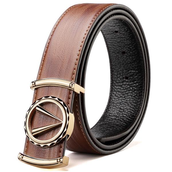 Hombres de cuero real Cinturón en L Oro Plata Cinturón en V Negro Cinturones de lujo genuinos de alta calidad para hombres, hombres de clase Alta calidad