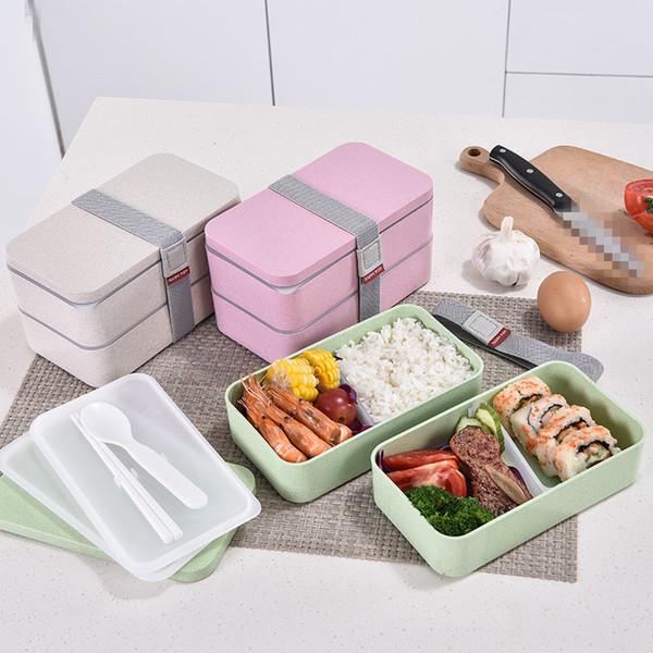 Çift Katman yemek kutusu Taşınabilir Buğday Straw Malzeme yemek kutusu Gıda Konteyner Depolama Öğrenci Bento Box MMA2793-A1