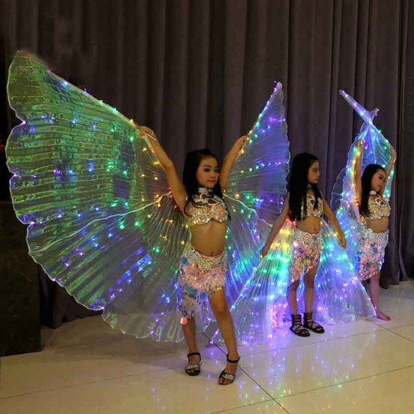 As crianças Levaram Isis Bellydance Asas Arco-íris Branco Crianças Levou Asas Brilhantes Acessórios de Dança Do Ventre Meninas Dança com vara