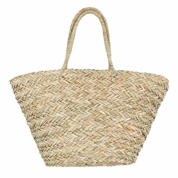 New Bohemian Beach Bag Women Handmade Straw Bags Summer Grass Handbags Drawstring Basket Totes Bag Travel Tote Large Size