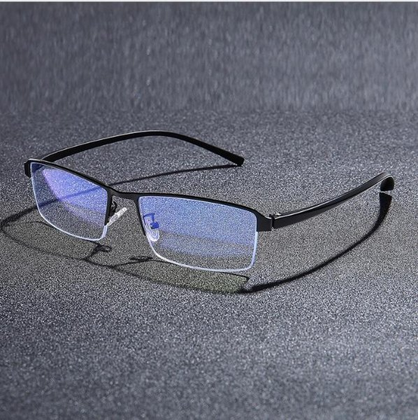 retro metal frame business half frame glass frame male tr foot silk anti-blu-ray glasses, White;black