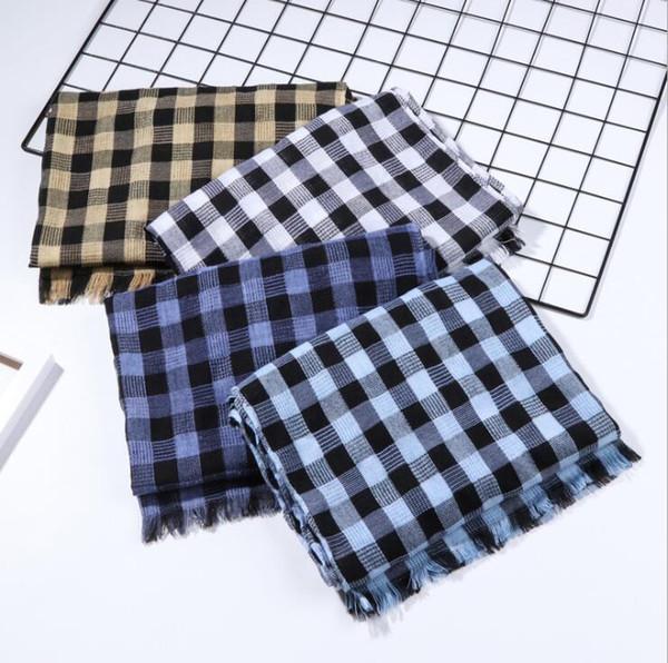 Plaid gland écharpe 65 * 180 cm 10 couleurs femmes hiver lin coton rectangle treillis à carreaux foulards châle LJO6298