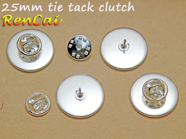 50pcs / lots-25mm Revers Pin-Brosche-Tie Tack Blank Pins-Round Pads Butterfly Tie Tack Rohlinge-Blank Krawatte Clip-Krawatte Clip Versorgung