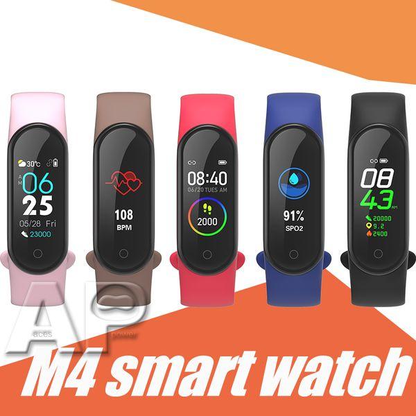 2019 Top vente M4 Smart Bracelet Fitness Tracker Sport Montre Smart Watch 0,96 pouce IP67 Étanche Fréquence Cardiaque Tension Artérielle avec emballage de détail