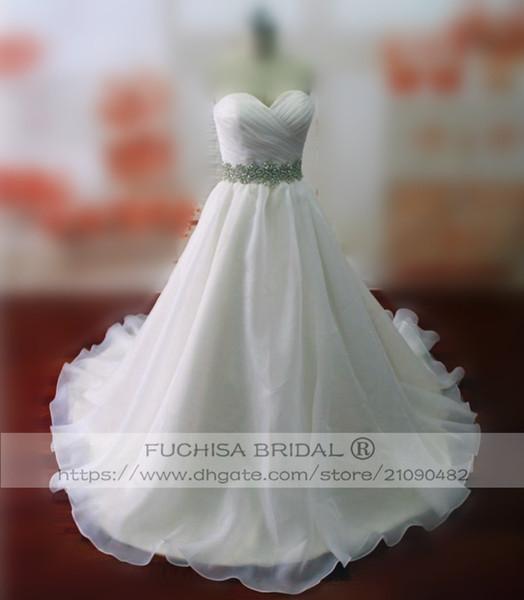 Ärmelloses Organza Brautkleid mit Gürtel Langes Brautkleid Brautkleid mit plissierter Brust nach Maß