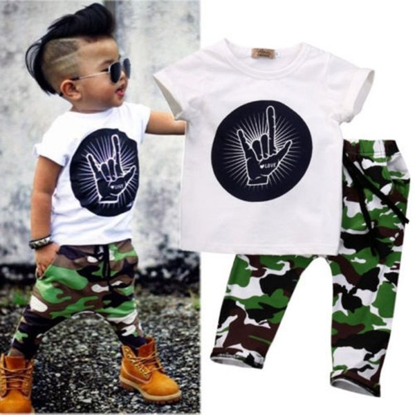Toddler Baby Kids Boys Clothes Tops T-shirt + Camouflage Panties Outfits Set 0-4 Years