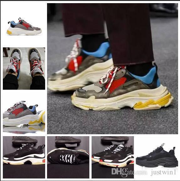 2019 Triple S Chaussures Hommes Femmes Sneaker Haute Qualité Couleurs Épaisse Talon Papa Formateur Triple-s Casual Chaussures Ascenseur Chaussures liujiaqihh