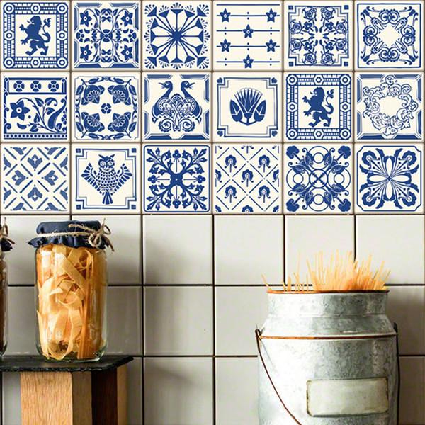 3D Mediterranean Style Retro Tile Floor Sticker Kitchen Bathroom Waist Line Wall Stickers Waterproof Poster Home Decor Art Mural