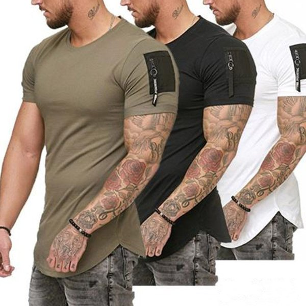 2019 New Solid T-Shirt Men Casual Mens T Shirts Gyms Fitness Bodybuilding Slim fit Patchwork Tshirt Fitness Workout Tees Tops