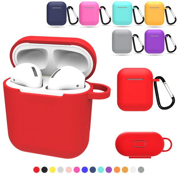 16 colors cover For airpods case Silicone TPU Bluetooth Wireless Earphone Case Protective Cover for Apple Airpods Charging Box with Hooks