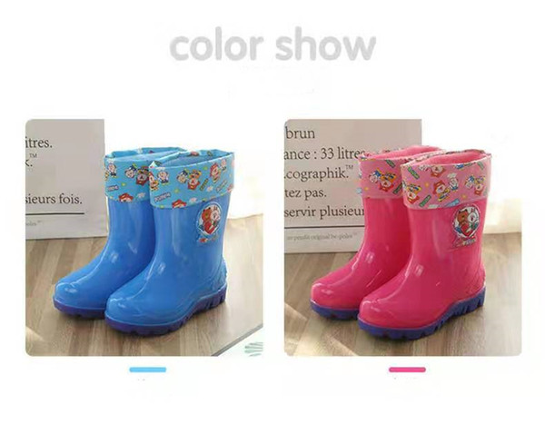 best selling Plus velvet thickened children's water shoes soft bottom cross-border waterproof export non-slip rain boots boys and girls rain boots winter