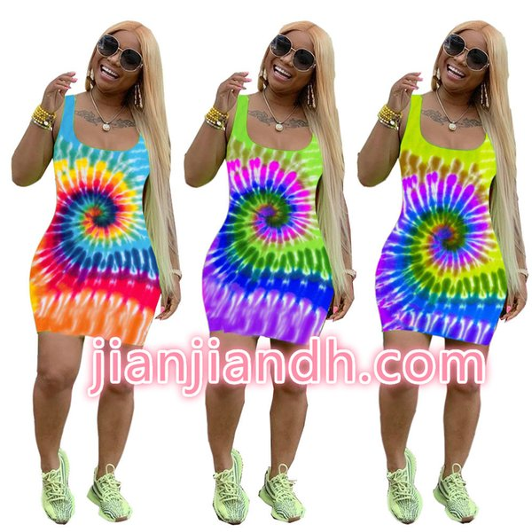 WJ5044 high-end explosion models Europe and the United States 19 women Fashion tie dyed positioning printing sexy strap dress 80994