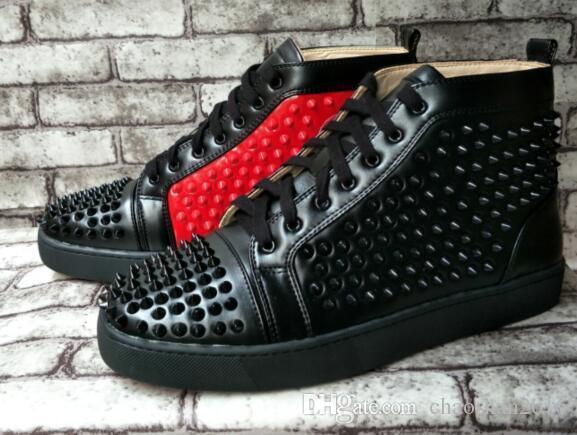 Мода Red Bottom High Top Мужская обувь Шипы Кроссовки Обувь, Роскошная Заклепки Flat Полуботинки размер: 36-47 оптовая