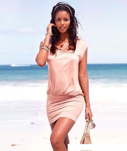 2016 Best Summer Sandy Beach Skirt Folds Split Joint Mini- Chiffon Dress Bodycon Cheap Dresses Woman For Womens Clothing Ladies