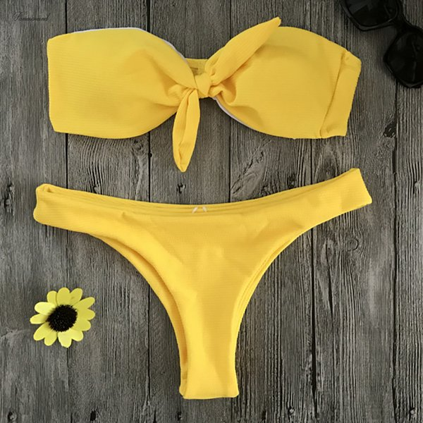 Tragen Sie feste Badebekleidung Frauen Sexy Brazilian Bikini Set Bandeau-Badeanzug Push-Up Swiming Anzug May Beach Yellow