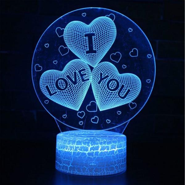 Lámpara de corazón 3D creativa Cristal cambiable Cumpleaños San Valentín Lámpara de humor Base de luz Luz de noche fresca para niños Regalo Dropshipping