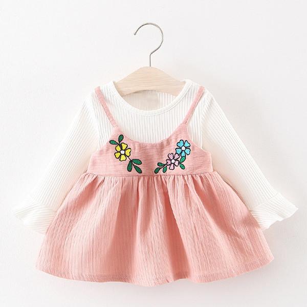 Yürüyor Çocuk Bebek Kız Uzun Kollu Çiçek Baskı Elbise Parti Prenses Elbise 2019 Yeni Varış Sıcak Satış