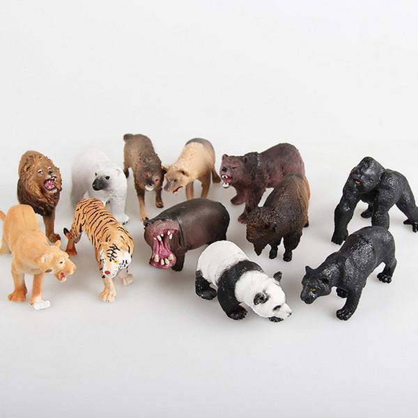 어린이 선물 어린이 정글 야생 생활 동물원 농장 동물 세트 모델 야생 동물 강아지 늑대 당나귀 황소 양 하마 입상 아이 장난감