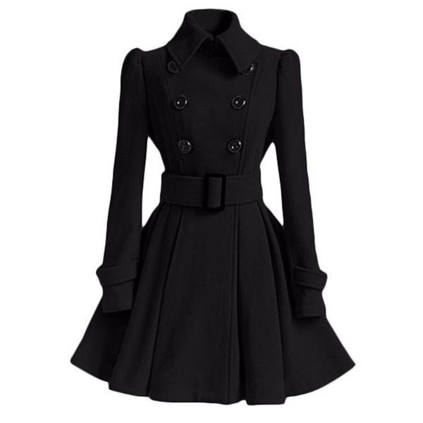 Mulheres Negras Casaco de Inverno Quente A Linha Outwear Retro Vintage Manga Longa Casaco Feminino Gótico Plus Size Outwear