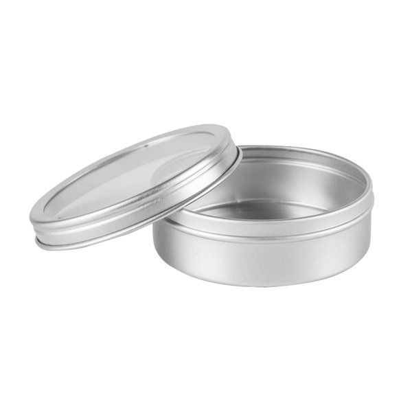 20g 40g 100g Empty Silver Cosmetics Cream Container Window Cap Metal Aluminum Jar Balm Bottle Tin Pot Can Gift For Tea Candle