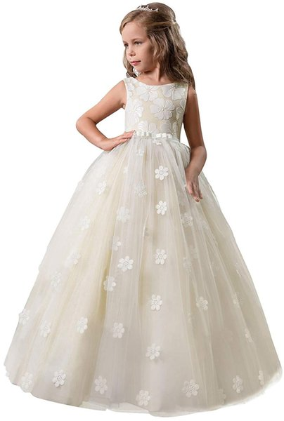 Mädchen-Festzug-Prinzessin Flower Girl Dress Kinder Abschlussball Puffy Ballkleider Applique
