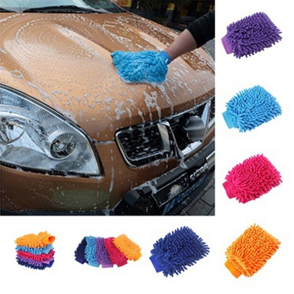 2 in 1 Ultrafine Soft Mesh backing no scratch Fiber Chenille Microfiber Car Wash Glove Mifor Car Wash and Cleaning