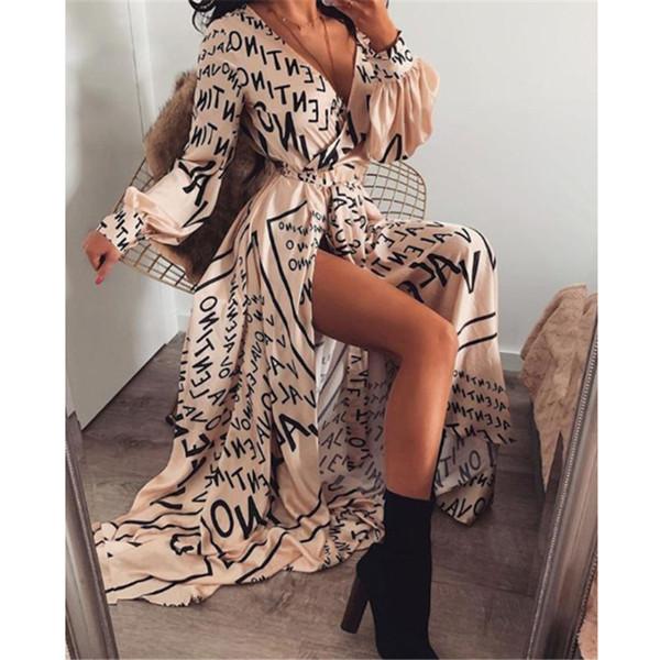 best selling Autumn Long Maxi Dress Female Casual Loose Beach Dress Ankle-Length Empire V-Neck Long Split Dresses Vestidos Women Boho Dress Y200101