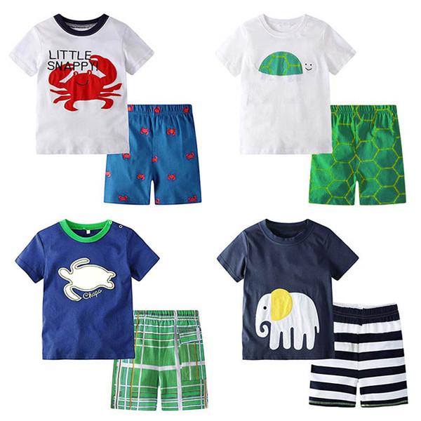 INS dessin animé garçons costumes décontractés enfants mignons tenues été enfants vêtements de marque garçons ensembles de vêtements t shirt + shorts garçons vêtements de marque A7339