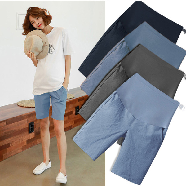 5006# 1/2 Length Thin Cotton Linen Maternity Short Pants Summer Fashion Shorts Clothes for Pregnant Women Casual Belly PregnancyMX190910