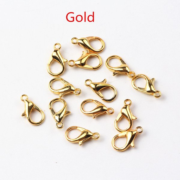 12mm Zinc Alloy Lobster Clasps Jewelry Findings Metal Hook Silver/Gold/Nickel/Bronze/ Gun Black Plated Claw Clasp 400pcs/lot