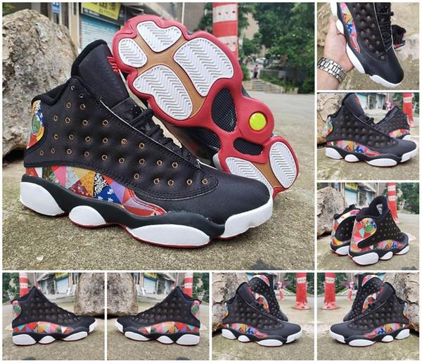 Neue 13 CNY Chinese New Year Männer Basketball-Schuhe Günstige Schwarz True Red White traditionellen chinesischen Patchwork gesteppte Muster 13s Mens Sneakers