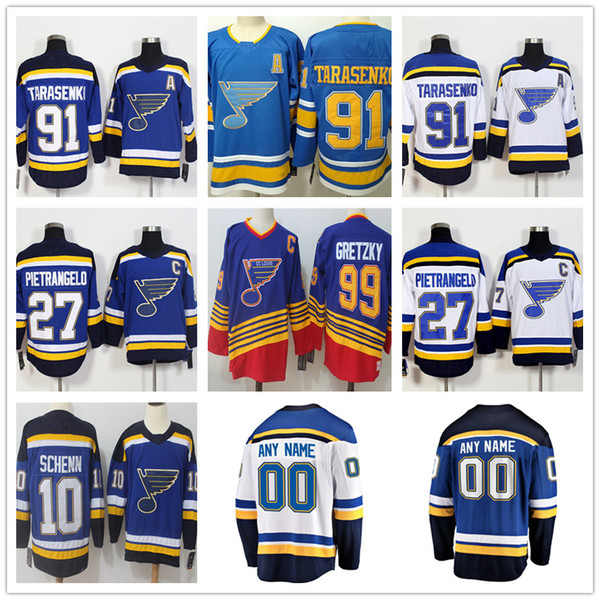 finest selection 5441e 7da44 2019 Men'S St. Louis Blues Jersey 91# Vladimir Tarasenko 27# Alex  Pietrangelo 10# Brayden Schenn 99# Wayne Gretzky Hockey Jerseys Stitched  Logos From ...