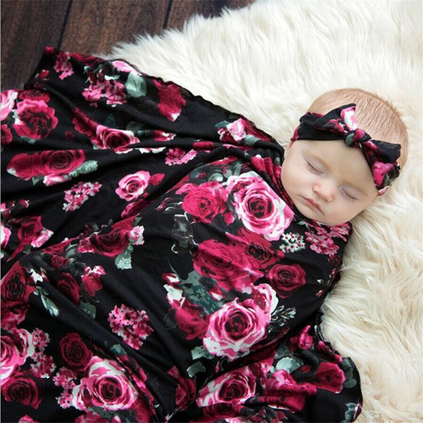 Newborn Photography New Maternal And Child Supplies Night Rose Print Double Baby Comfortable Headscarf Baby Blanket Set