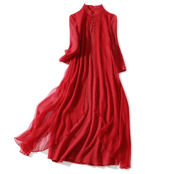 New Summer 100% Silk Red Dress Women Chinese Style Button MMandarin Collar Female Long Dresses Elegent Evening Party Maxi Dress